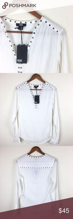 Paige   NWT's   White Blouse   Size S Excellent Condition (brand new) Paige Blouse NWT's Size S. Chest: 38in.; Length: 26in. (Front) 28in. (Back); Sleeve: 25.5in. Material: 100% cotton. No trades. Paige Jeans Tops Tunics