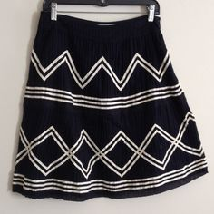 Anthropologie navy & white skirt by Lil Cute spring skirt, fully lined, lace detail, zipper side, 80% cotton, 20% nylon. Good condition, knee length Anthropologie Skirts