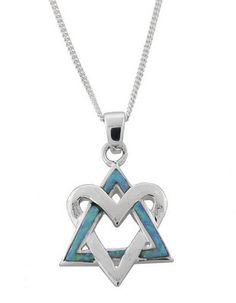 Silver Heart and Opalite Interlocked Star of David Necklace , Jewish & Israeli Jewelry Judaica Web Store Metal Clay Jewelry, Art Deco Jewelry, Modern Jewelry, Jewelry Stores Near Me, Best Jewelry Stores, Israeli Jewelry, Jewish Jewelry, Indian Jewelry, Silver Ring Designs