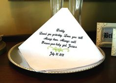 Father of the Bride -Hankie - Hanky - Loved you YESTERDAY - Love you STILL - Gift for Father from Bride - Wedding. $22.95, via Etsy.