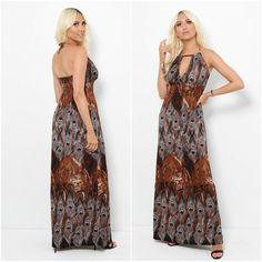 Boho Womens Brown Holiday Halter Neck Peacock Maxi Dress Sundress UK 8 10 12 14 #Unbranded #MaxiDress #AnyOccasion
