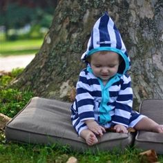 KidCuteTure Nautical Stripe Hooded Knit Jacket Baby Boys Size 3-18M