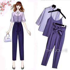 Korean Fashion Kpop, Kpop Fashion Outfits, Korean Outfits, Cute Fashion, Frock Fashion, Women's Fashion Dresses, Dress Sketches, Fashion Design Sketches, Cute Casual Outfits