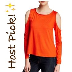 NWT Trina Turk Cold Shoulder Orange Top Tee NWT! Authentic Trina Turk cold shoulder top. Size Small. Fabric provides stretch, true to size. Please read the last pic for fabric details. Made in USA. Recommended for dry clean only. ***No Trades, Price Firm!*** Trina Turk Tops Tees - Long Sleeve