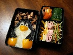A Tux Bento! Obviously, I would change the other contents to make it vegan, but I'm pretty sure Tux is just nori, a yellow bell pepper, and rice.
