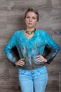 """Пиджаки, жакеты ручной работы. Ярмарка Мастеров - ручная работа. Купить Жакет """"Прованские травы"""". Handmade. Голубой, шелк натуральный"""