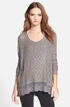 Love By Design Crochet High/Low Pullover (Juniors) available at #Nordstrom