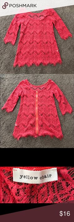Coral Crochet Lace Top With Zipper Dark coral/pink 3/4 length sleeved blouse with gold zipper in back. Whole top is see-through and lacey. Worn once, in great condition. No trades. Comment with questions :) Yellow Chair Tops Blouses