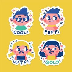 Hand drawn funny stickers with faces pac. Clear Stickers, Kids Stickers, Funny Stickers, Logo Sticker, Sticker Design, Hand Sticker, Ticket Cadeau, Kids Logo, Planner
