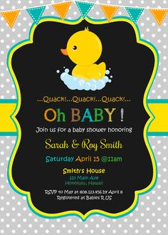 Pato de bebé ducha invitación pizarra pato por StrawberryPartyPrint