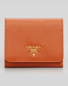 Small French Coin Wallet, Papaya Orange by Prada at Neiman Marcus.