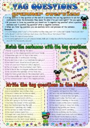 Tag Questions ESL Printable Worksheets and Exercises Grammar Book, English Grammar, Teaching English, Grammar Worksheets, Printable Worksheets, Printables, Tag Question, Grammar Exercises, Rules For Kids