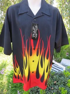 DRAGONFLY SHIRT  TANK  XL NWT PG-216 Black Flames  #Dragonfly #ButtonFront