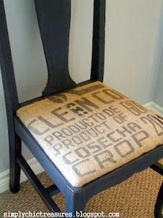 simply chic treasures: A Burlap Seat- for the dining room- use old feed sacks