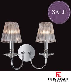 FIRSTLIGHT 'GRACE' 2 LIGHT WALL LIGHT, CHROME WITH MOULDED CLEAR GLASS - 8209CH None