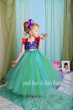 The little mermaid Tutu Dress-The little mermaid dress- Ariel Costume -mermaid…
