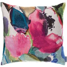 Bluebellgray Niloy Cushion ($100) ❤ liked on Polyvore featuring home, home decor, throw pillows, pink, pink throw pillows, floral throw pillows, pink home decor, floral home decor and pink accent pillows