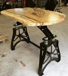 Exceptional Vintage Industrial Steampunk Metal Live Edge Pub Table