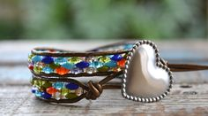 Custom Engraved Stainless Heart Double Wrap Bracelet by Links of Hope Network.  www.linksofhope.etsy.com