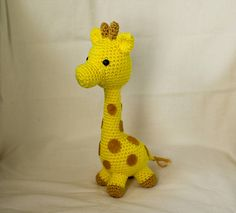 This is a pattern to make a little crocheted giraffe. It is about 12 inches tall, and a cute toy for little children, or baby shower. The pattern is written in English, US format, and is published as a PDF file. The skill level is easy, you only need knowledge of basic stitches to
