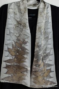 Eco Print Silk Scarf 57, with Butternut and Cedar leaves by DianeGamm on Etsy.  Botanical print, eco-dye, natural dyes