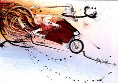 Ralph Steadman - http://www.wonderlandmagazine.com/wp-content/uploads/2011/06/HUNTER-on-DUCATI.jpg