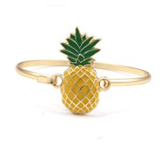 """Measurements: 7"""" length Closure: With hook and catch closure Materials: Gold plated base metal This super cute pineapple pendant bracelet is great for everyday wear – adds a bit of Miami sunshine to a"""