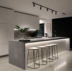 Luxury Kitchen Design, Kitchen Room Design, Home Decor Kitchen, Interior Design Kitchen, Kitchen Living, Kitchen Ideas, Polished Concrete Kitchen, Concrete Kitchen Floor, Kitchen Flooring