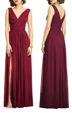 Surplice Ruched Chiffon Gown by Dessy Collection