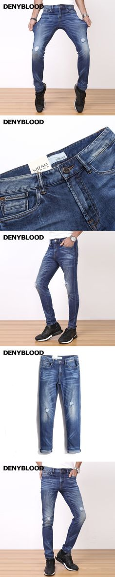 Denyblood Jeans Mens Slim Straight Jeans Stretch Denim Distressed Jeans Ripped High Quality Casual Pants Trousers 7205