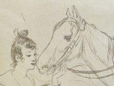 Willette Adolphe - Jeune-femme et chevaux