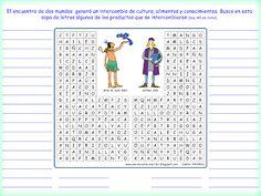 Me encanta escribir en español: Intercambio de productos entre América y Europa (sopa de palabras)