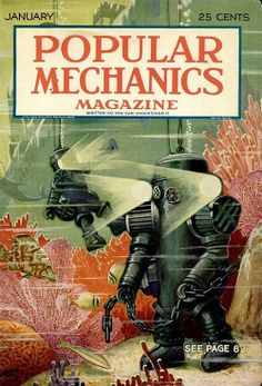 Popular Mechanics January 1931 cover image of all-metal diving suit with headlights