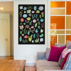 """Bungalow Rose Succulent Plant Chart I Painting Print on Wrapped Canvas Size: 26"""" H x 18"""" W x 1.5"""" D"""