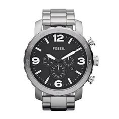 GENTS LARGE STAINLESS STEEL BLACK FACE CHRONOGRAPH FOSSIL WATCH #Jewellery #Christmas #ForHim