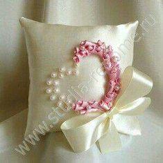 Ribbon rosettes and pearls. #heart #ringbearer #wedding #valentine #ribbon Wedding Ring Cushion, Cushion Ring, Wedding Pillows, Silk Ribbon Embroidery, Hand Embroidery, Embroidery Designs, Ring Bearer Pillows, Decorative Pillows, Diy Pillows