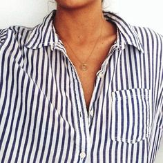 Dogeared Dainty Delicate Karma Charm Necklace & Striped Shirt -- Via Colby Milano of Moeh Fashion Estilo Fashion, Look Fashion, Fashion Beauty, 90s Fashion, Daily Fashion, Fashion Tips, Looks Style, Style Me, Simple Style