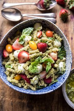 Strawberry Avocado Pesto Pasta Salad.