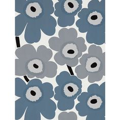 Marimekko Unikko Wallpaper | Grey at John Lewis