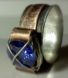 Two tone ring Copper and Silver band wire by AndreaDurhamDesigns