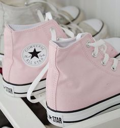 Baby pink and white converse perfect for all year round