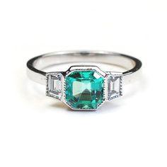 Bague Art Deco bague émeraude bagues en diamant bague de par NIXIN