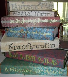 """DIY Harry Potter Textbooks!!! So awesome!! A party for an 11 year old - Send them a Hogwarts letter a couple days or weeks after their birthday, then take then to """"Diagon Alley"""" (your backyard or basment, just a large space) And have them """"buy"""" all their equipment for Hogwarts! Go back inside your house and show them a couple cool science tricks for potions or charms!!!"""