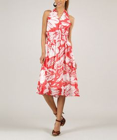 Take a look at the White & Red Floral Surplice Dress on #zulily today!