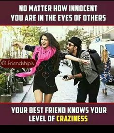 So true 😂😂 Crazy Friends Caption, Crazy Friend Meme, Guy Best Friend, Best Friend Quotes Funny, Besties Quotes, Funny Quotes, Qoutes, Funny School Jokes, Crazy Funny Memes