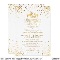 """Gold Confetti Dots Happy New Year's Eve Party Invitation.   (1) For further customization, please click the """"Customize"""" button and use our design tool to modify this template. The background color is changeable.   (2) If you need help or matching items, please contact me."""