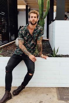 short sleeve tropical floral print button-down shirt