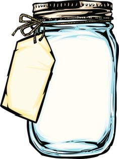 illustration of a mason jar with a hanging tag tied on with string Mason Jar Crafts, Mason Jars, Mason Jar Clip Art, Clipart Black And White, Borders And Frames, Ball Jars, Coloring Pages, Stencils, Crafts For Kids