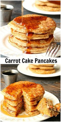 Carrot Cake Pancakes - Full of carrots, pineapple, cinnamon and nutmeg, all the classic Carrot Cake ingredients! This is the perfect way to enjoy 'cake' for breakfast!