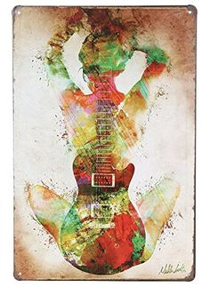 ERLOOD Music Guitar Girl Retro Vintage Tin Sign 12 x8 *** Want to know more, click on the image. (This is an affiliate link and I receive a commission for the sales)